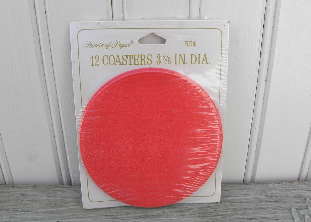 NIP Vintage House of Paper Red Cocktail Coasters