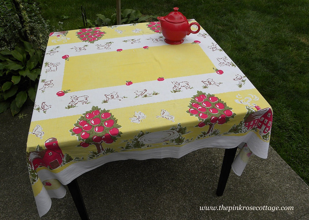 Vintage Startex Farm Tablecloth Apples Barns Lambs Apple Trees and More