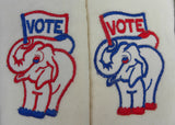 Vintage Patriotic Red White Blue Vote Embroidered Hand Towels