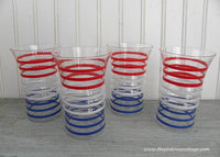 Set of 4  Vintage Anchor Hocking Red White Blue Betsy Ross Drinking Glasses
