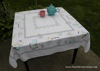 Mid Century Modern 1950's Vintage Tablecloth Pink and Aqua Appliances Percolator and More - The Pink Rose Cottage
