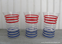 Vintage Anchor Hocking Red White Blue Betsy Ross Drinking Glasses