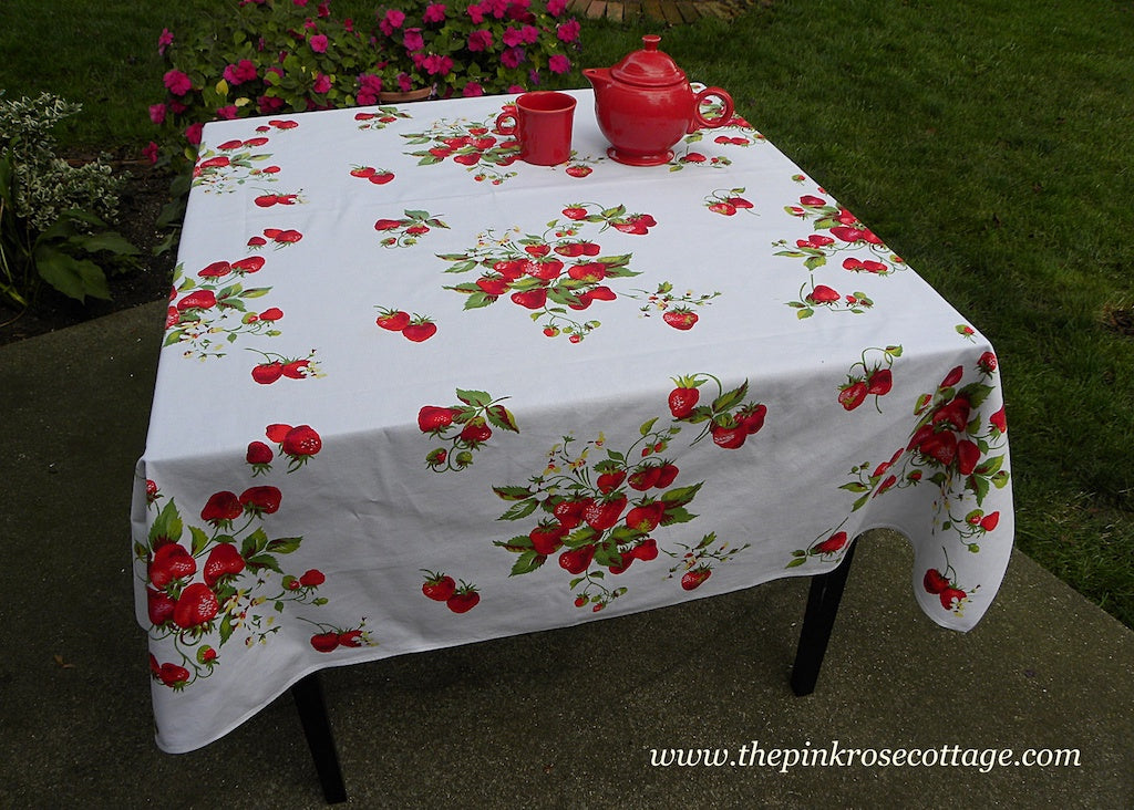 Vintage Wilendur Strawberries and Strawberry Blossoms Tablecloth