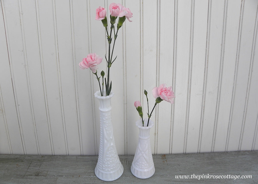 Pair of Cottage Chic Vintage Milk Glass Vases