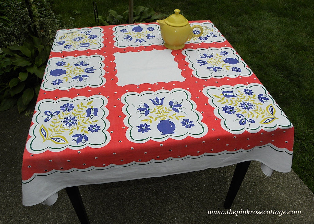 Vintage Simtex Stylized Floral and Polka Dot Tablecloth