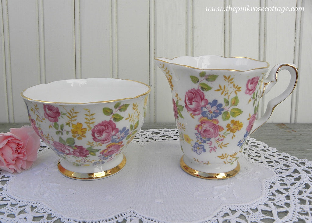 Vintage Royal Stafford June Roses Chintz Sugar and Creamer
