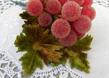 Vintage Sugared Glass Bunch of Red Grapes Picks