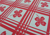 Vintage Tagged Startex Red and White Kitchen Clover Tablecloth