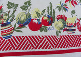 Vintage Southwestern Pottery Gourds Tomatoes Christmas Cactus Tablecloth