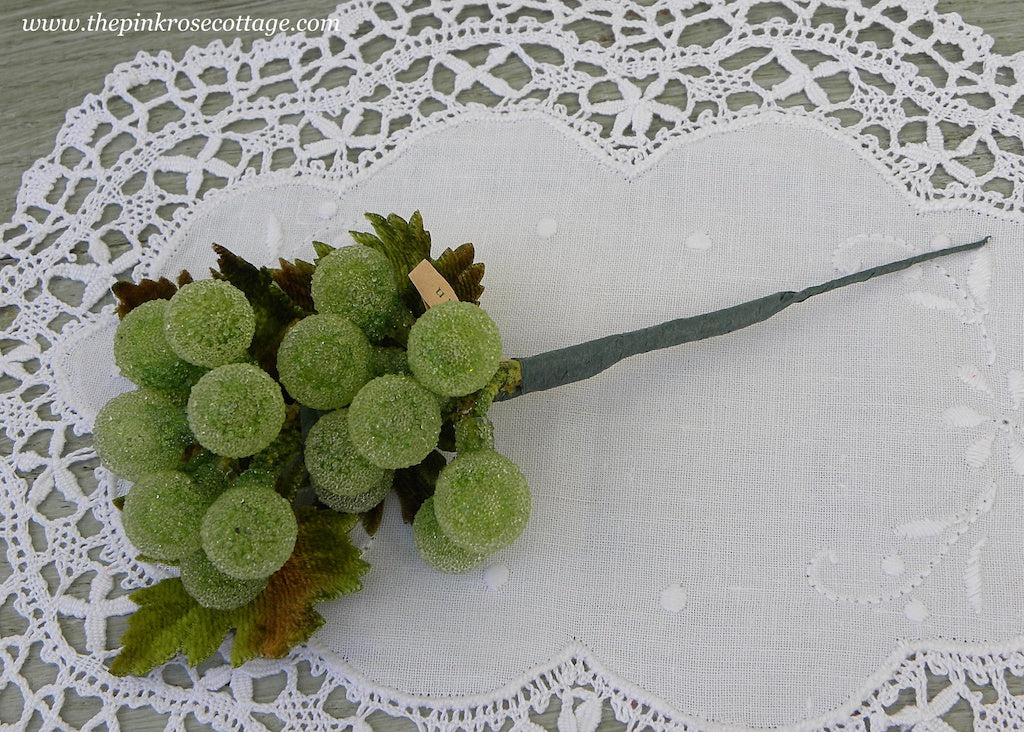 Vintage Sugared Glass Bunch of Green Grapes Picks