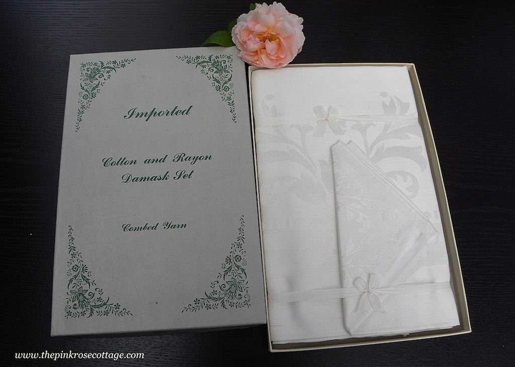 Unused Elegant Damask Tablecloth and Napkin Set in Original Box - The Pink Rose Cottage