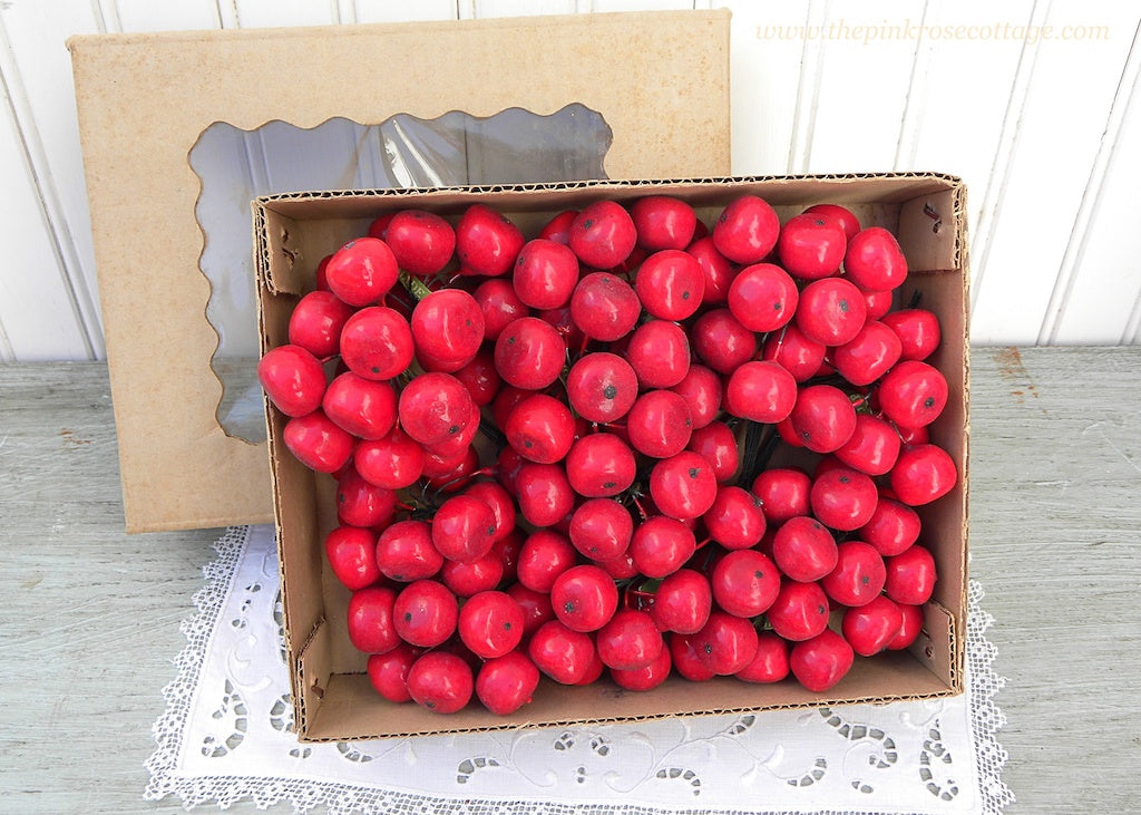 144 Pieces Vintage Red Apple Cherry Fruit Floral Millinery Picks