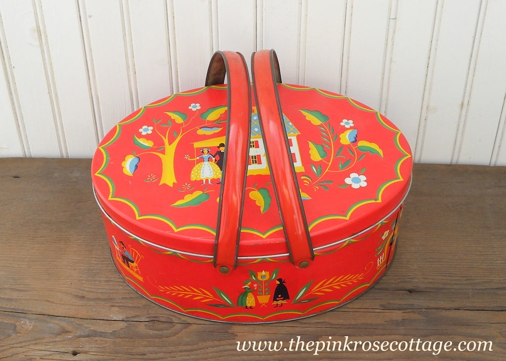Vintage Handled Tin Red Country Lunch Picnic Basket