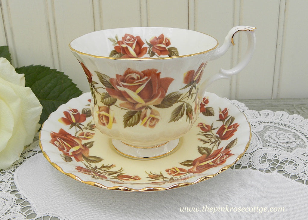Vintage Royal Albert Lakeside Series Thirlmere Roses Teacup and Saucer
