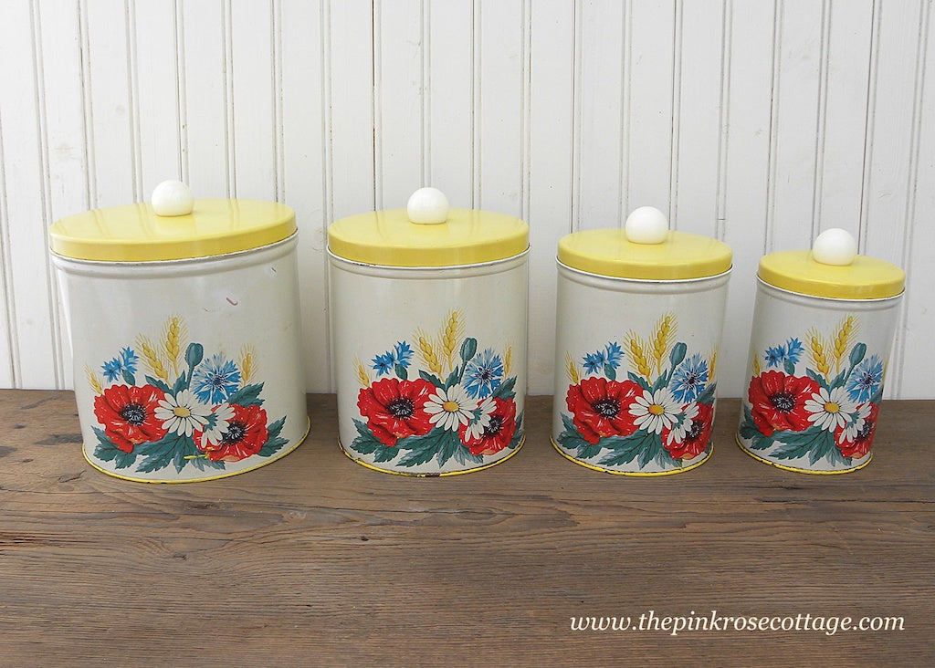 Vintage Metal Canister Canister Set Yellow with Poppies and Daisies