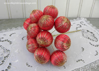 Vintage Satin Red and Gold Christmas Balls Picks