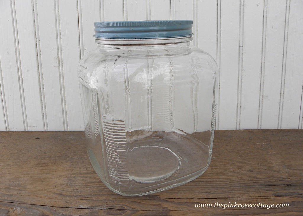 Vintage Glass Ribbed Canister Jar with Blue Metal Lid Medium