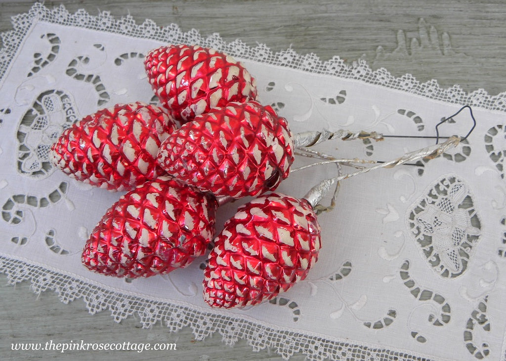 5 Vintage Christmas Red Glass Pinecone Floral Picks