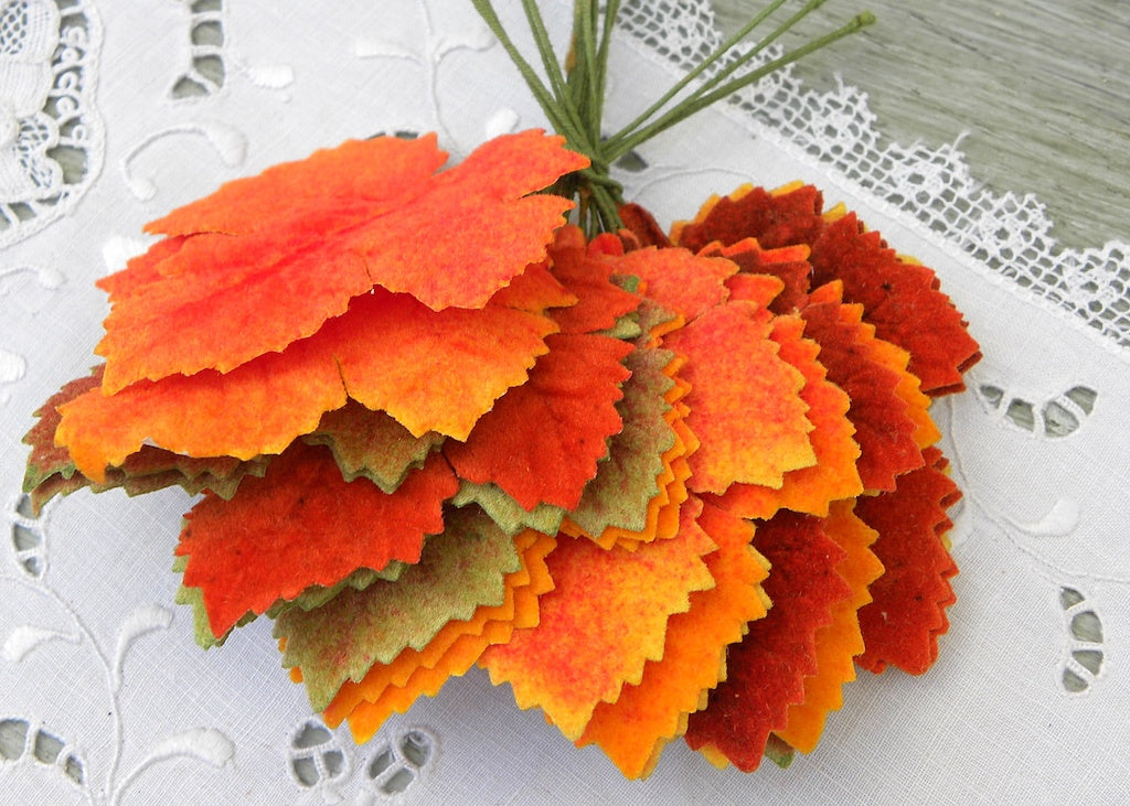 Vintage Bundle Millinery Leaves Autumn Colos Wire Stems French