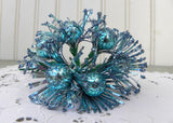 Vintage Blue Glitter Daisies Floral Picks Mercury Glass and Foil