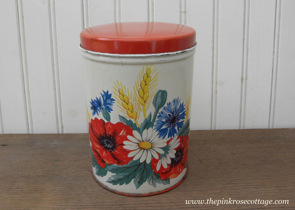Vintage Small Metal Canister Red with Poppies Daisies and More