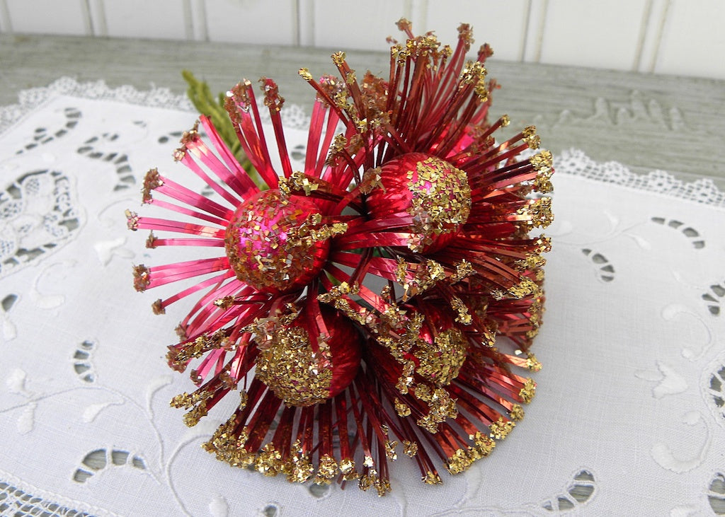 Vintage Red Glitter Daisies Floral Picks Mercury Glass and Foil