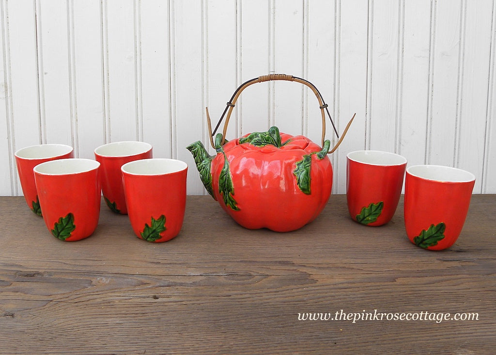 Vintage Maruhon Ware K Tomato Teapot with 6 Matching Teacups