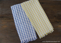 2 Vintage Unused Dundee Terry Cloth Kitchen Towels Yellow and Blue Checked