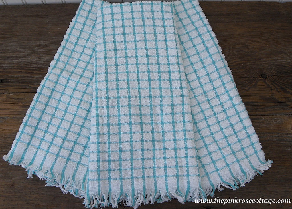 3 Vintage Unused Dundee Terry Cloth Kitchen Towels Teal Checked