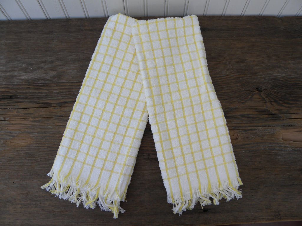 2 Vintage Unused Cone Terry Cloth Kitchen Towels Yellow Checked
