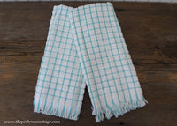 2 Vintage Unused Cannon Terry Cloth Kitchen Towels Teal Checked