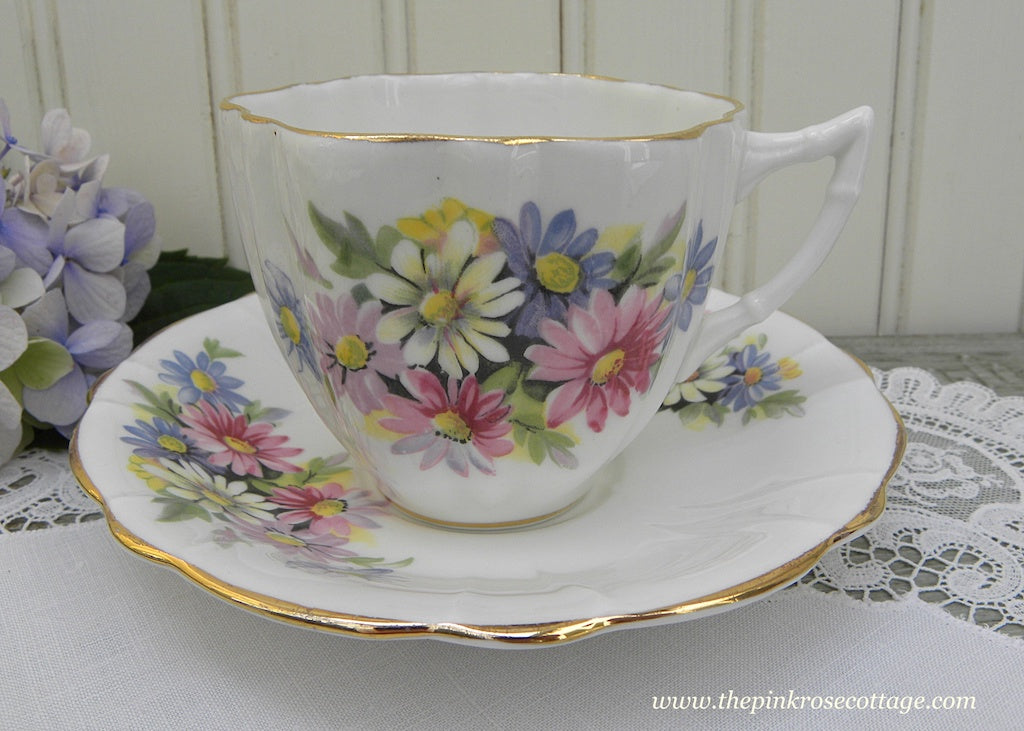 Vintage Pink Blue Purple White Daisy Bouquet Teacup and Saucer