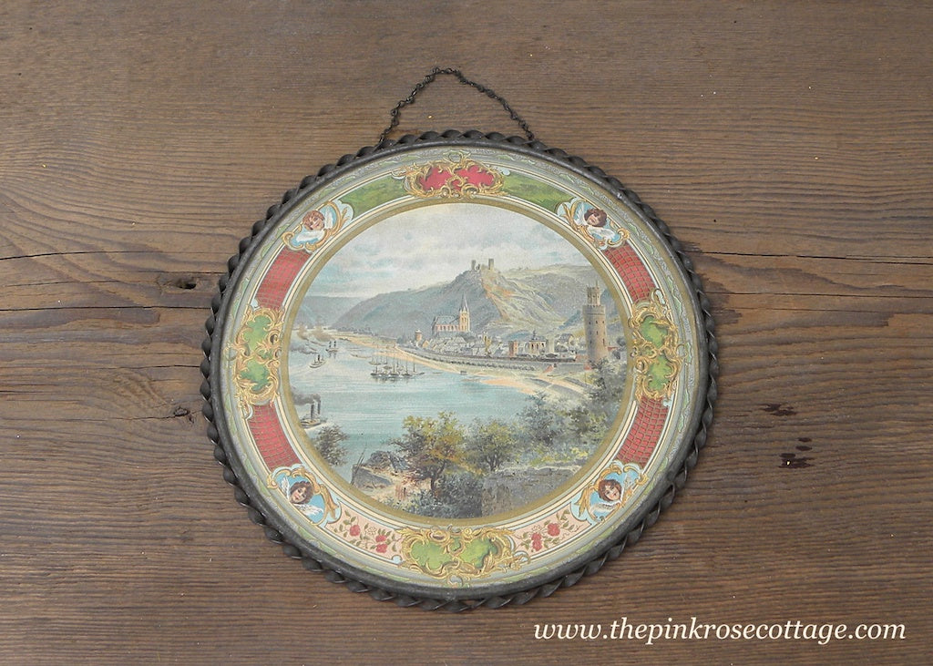Antique Flue Chimney Cover City on River with Angels - The Pink Rose Cottage