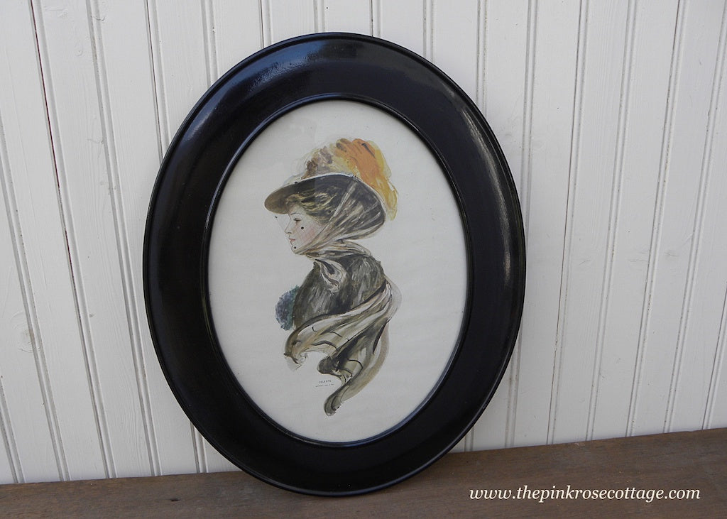 Antique 1908 Framed Celeste Gibson Girl Print - The Pink Rose Cottage