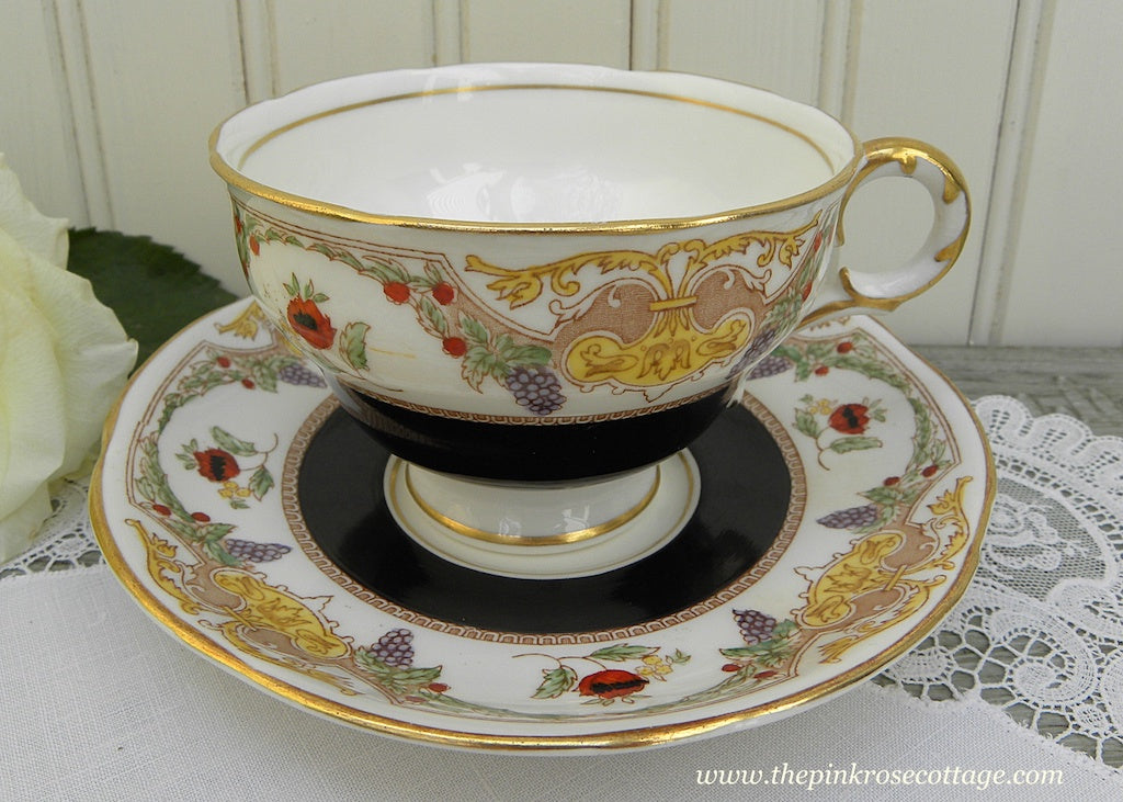 Vintage Adderley Black Teacup and Saucer with Poppies and Grapes - The Pink Rose Cottage