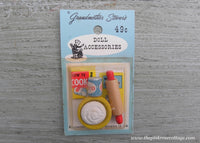 Vintage Grandmother Stover's Doll Accessories Cookbook Rolling Pin Crisco Miniature Dollhouse