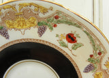 Vintage Adderley Black Teacup and Saucer with Poppies and Grapes