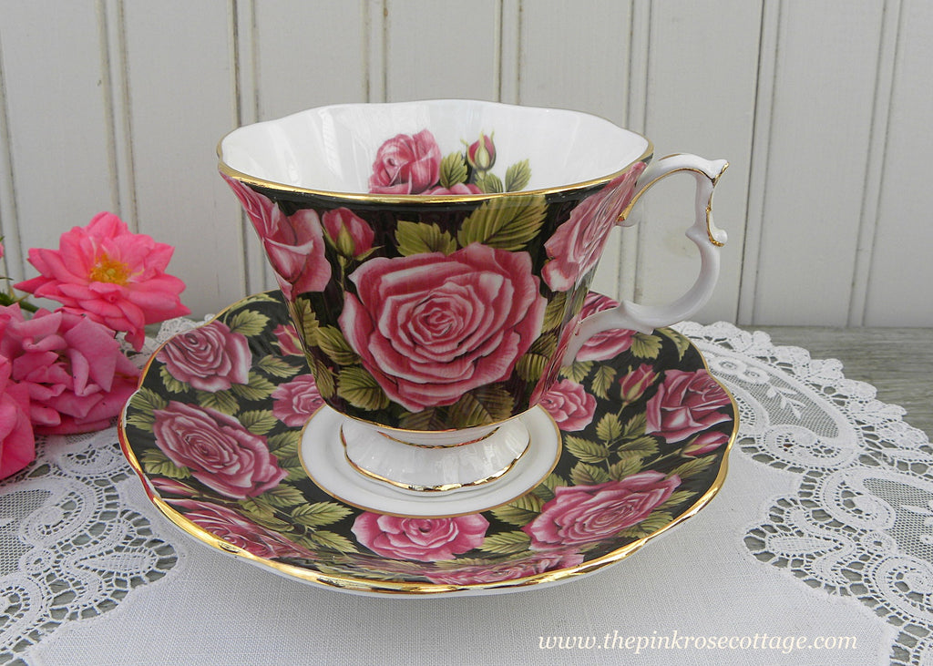 Vintage Royal Albert Black Chintz Pink Roses June Teacup and Saucer