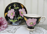 Vintage Black Tuscan Teacup and Saucer with Pink Poppies