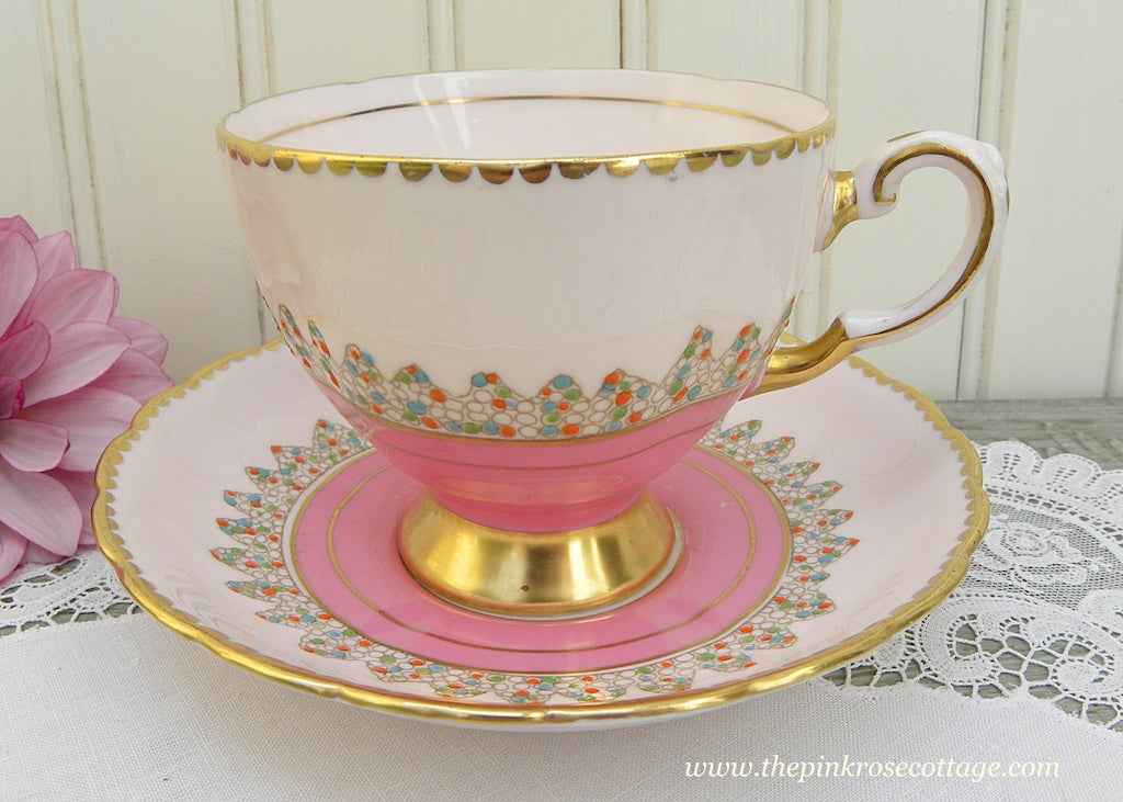Vintage Tuscan Light and Dark Pink Teacup and Saucer with Raised Dot Trim