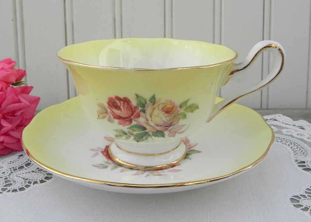 Vintage Royal Albert Pink and White Roses on Yellow Teacup and Saucer
