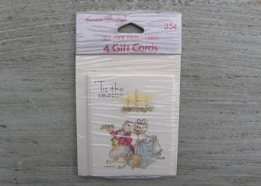NIP Vintage American Greetings K Lawrence Christmas Mice Self Stick Folded Gift Tags