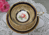 Vintage Paragon Shell Pink and Cobalt Blue Teacup and Saucer with Pink Rose