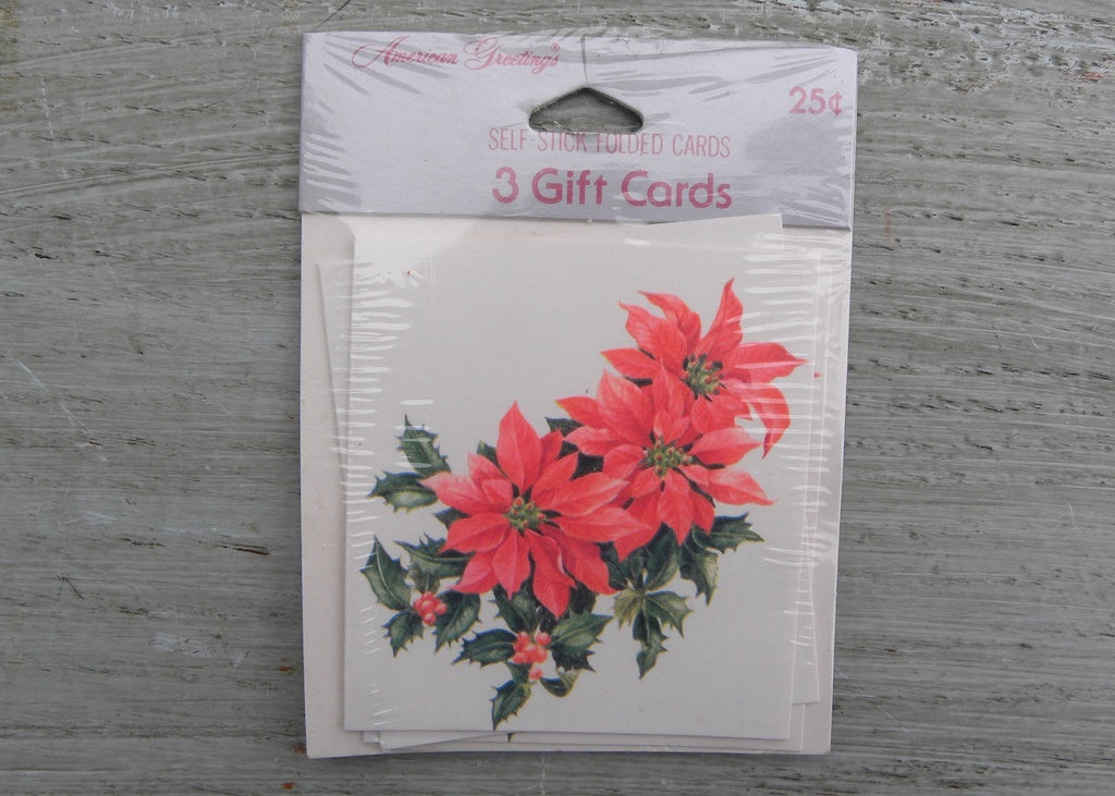 NIP Vintage American Greetings Christmas Poinsettia Self Stick Folded Gift Tags