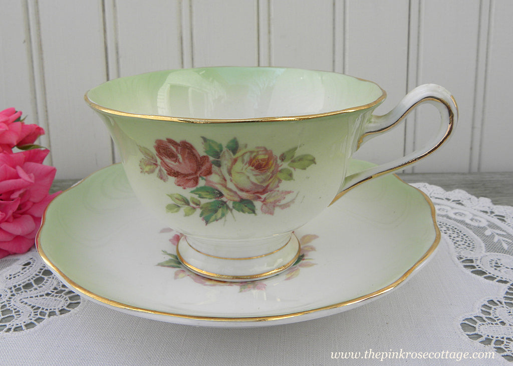 Vintage Royal Albert Pink and White Roses on Green Teacup and Saucer