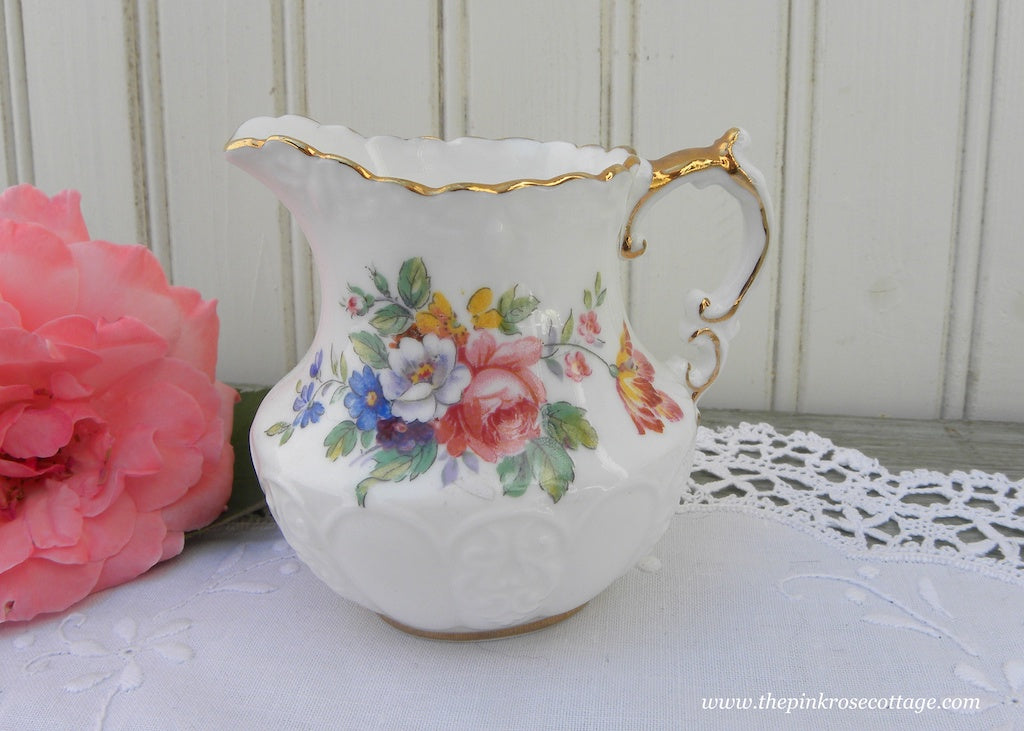 Vintage Anysley Pink Roses and Wildflowers Creamer
