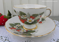 Vintage Strawberries and Strawberry Blossom Teacup and Saucer