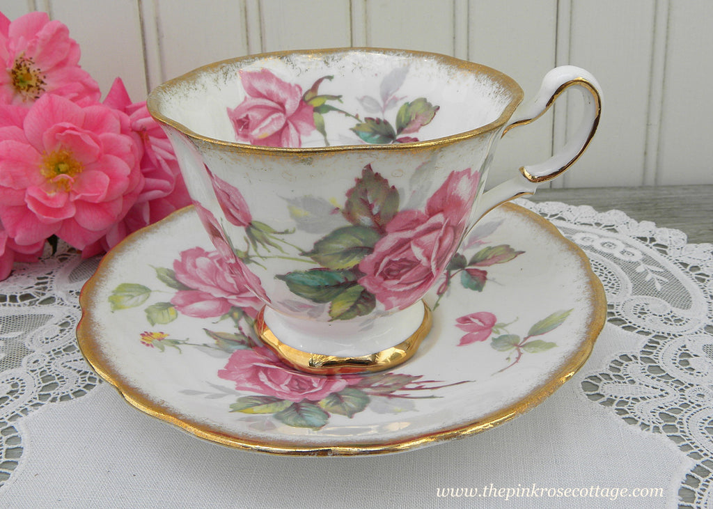Vintage Royal Stafford Berkeley Rose Pink Roses Teacup and Saucer