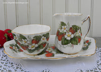 Vintage Strawberries and Strawberry Ripe Blossom Sugar and Creamer