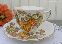 Vintage Rosina Fall Autumn Leaf Leaves Teacup and Saucer